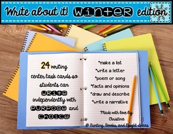 24 Write About It Task Cards for Winter