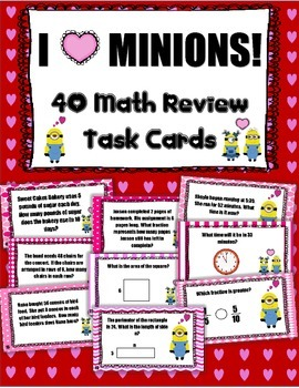 Valentine Minion Math Task Cards