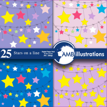 Star Papers and backgrounds, 24 stars on a clothesline scr
