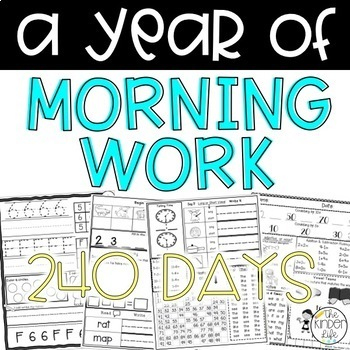 240 Days of Morning Work: A Complete Year- Kindergarten or