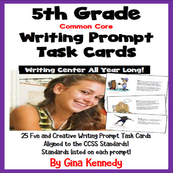 25 Common Core 5th Grade Writing Prompt Task Cards, Standa