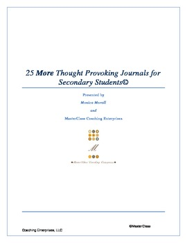 25 MORE Thought Provoking Journals for Secondary Classrooms