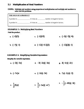 2.5 Multiplication of Real Numbers
