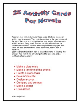 25 Novel Activity Cards