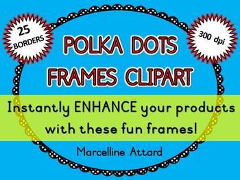 POLKA DOTS FRAMES: DOODLE BORDERS: POLKA DOTS CLIPART BORD