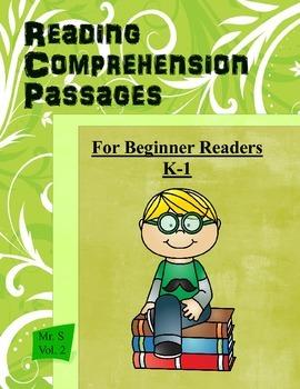 25 Reading Comprehension Passages  K-1  Volume 1  Common C