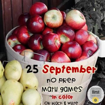 25 September No Prep Math Games in Color or Black & White: