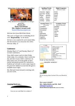 2.5.1 Fire Fighter Street 2nd Grade Newsletter Unit 5 Week 1