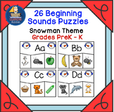26 Beginning Sounds Puzzles Snowman Theme  Grades PreK - K