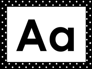 26 Black and White Alphabet Posters with Uppercase and Low