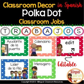 26 Classroom Jobs In Spanish {Editable}