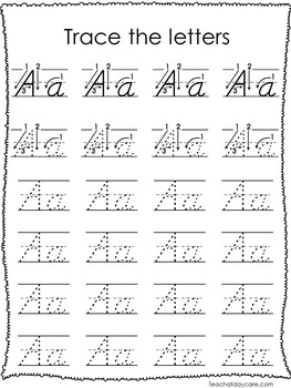 26 D'Nealian Trace the Alphabet Worksheets. Preschool-2nd