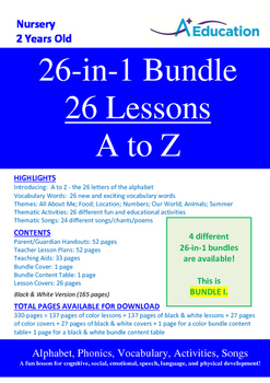 26-IN-1 BUNDLE - 26 Lessons - A to Z (Bundle 1) - Nursery