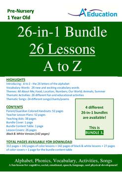 26-IN-1 BUNDLE - 26 Lessons - A to Z (Bundle 3) - Pre-Nurs