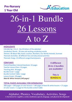 26-IN-1 BUNDLE - 26 Lessons - A to Z (Bundle 4) - Pre-Nurs