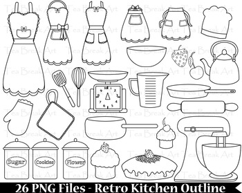 26 PNG Files- Retro Kitchen Outline -Digital Clip Art - 30