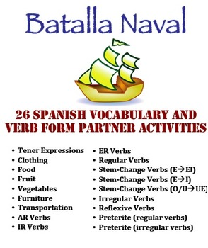 26 Spanish Battleship Activities for Vocabulary and Verb Forms