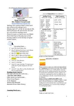 2.6.1 Just Like Josh Gibson Street 2nd Grade Newsletter Un