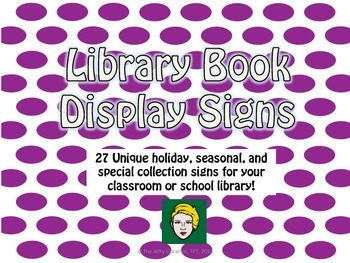 27 Unique Library Book Display Signs: Purple Polka Dots, S