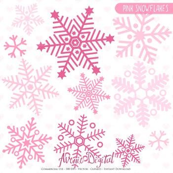 28 Christmas Pink Snowflakes - vector clipart - snow images