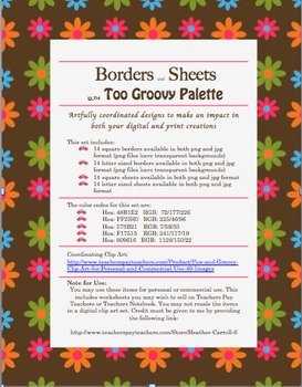 28 Clipart Borders & Sheets (Too Groovy Color Palette) Per