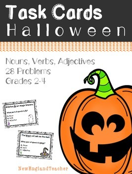 28 Halloween Parts of Speech Grammar Task Cards: Nouns, Ve