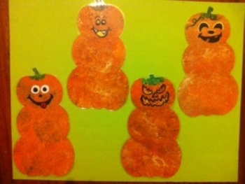 28 Hand Painted Pumpkin Heads for Bulletin Board