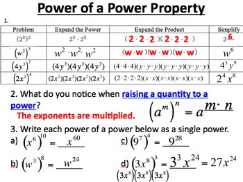 28 properties of exponents multiplying by mathematical connections teachers pay teachers. Black Bedroom Furniture Sets. Home Design Ideas
