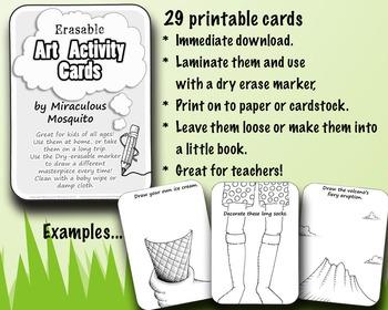 29 Erasable Art Activity Cards