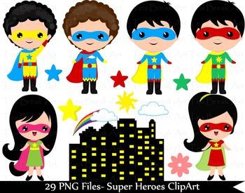 29 PNG Files- Kawaii heroes boys and girls-Digital Clip Ar