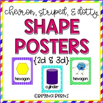 2D & 3D Shape Posters {Dots, Chevron, & Stripes}