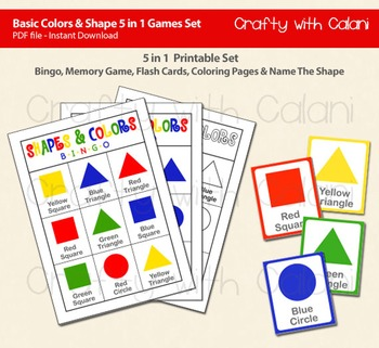 Basic 2D Shapes 5 in 1 Activity Set, Bingo, Flash Card, Co