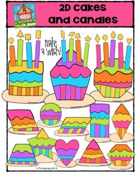 2D Cakes and Candles {P4 Clips Trioriginals Digital Clipart}