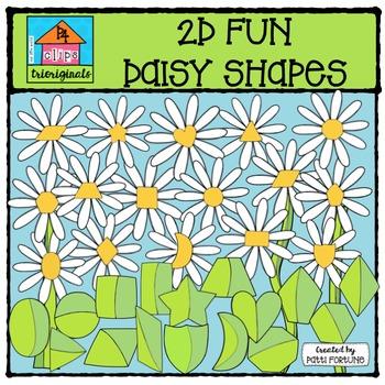 2D FUN Daisy Shapes {P4 Clips Trioriginals Digital Clip Art}