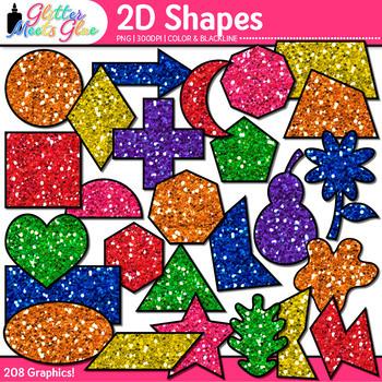 2D Shape Clip Art {Rainbow Glitter Math Manipulatives for
