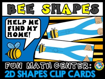 BEE THEME 2D SHAPES CENTER: 2D SHAPES CLIP CARDS: FLAT SHA
