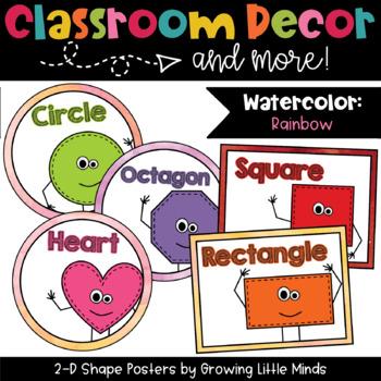 2D Shape Posters- Rainbow Watercolor classroom decor