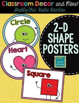 "2D Shape Posters- Shabby Chic ""Rustic Rainbow"" Burlap"