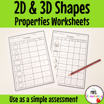 2D and 3D Shape Properties Worksheets