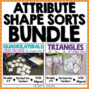 2D Shape Sort Bundle: Quadrilaterals and Triangles