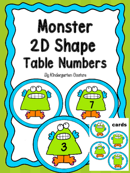 2D Shape Table Numbers and Cards