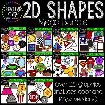 2D Shapes Clipart Bundle {Creative Clips Digital Clipart}