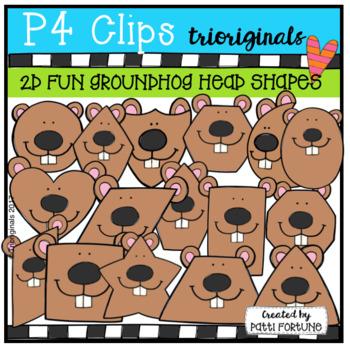 2D Shapes Groundhog Heads {P4 Clips Trioriginals Digital Clipart}