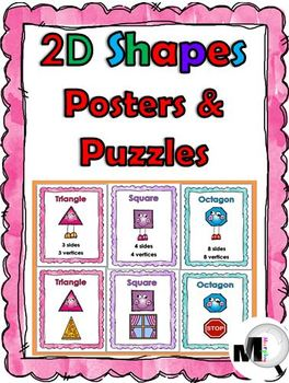 2D Shapes Poster Set with Attributes and Real-World Exampl