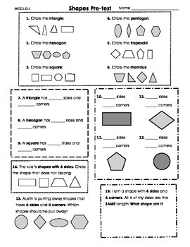 2D Shapes Pre & Post Assessments w/ Show What you Know