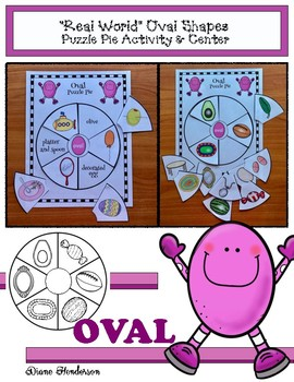 """2D Shapes: """"Real World"""" OVAL Puzzle Pie Activity & Center Game"""