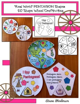 "2D Shapes: ""Real World"" PENTAGON Shapes Wheel Craftivities"