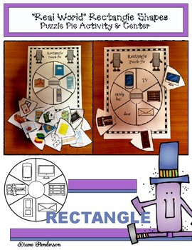 "2D Shapes: ""Real World"" RECTANGLE Puzzle Pie Activity & Ce"