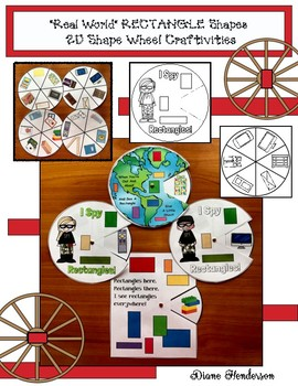 """2D Shapes: """"Real World"""" RECTANGLE Shapes Wheel Craftivities"""