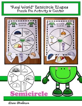 "2D Shapes ""Real World"" SEMICIRCLE Puzzle Pie Activity & Ce"